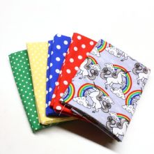Pack of 5 100% Cotton Little Grey Unicorn Print with 4 Fat Quarters